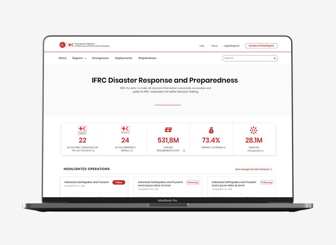 IFRC-GO platform displayed on a computer image